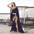 Сари Темно-Синий Вечерние Платья Одно Плечо Embriodery Кружева Длиннее Шифоновое Пром Платья Индия Женщины Формальное Вечернее Платье 2017