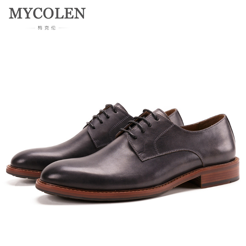 MYCOLEN Hot Sell Mens High Quality Leather Shoes Men'S Dress Shoes New Fashion British Style Round Toe Low Formal Shoes Men opp 2017 men s patent leather dress shoes new fashion style classic low dress shoes natural leather shoes for mens derby shoes