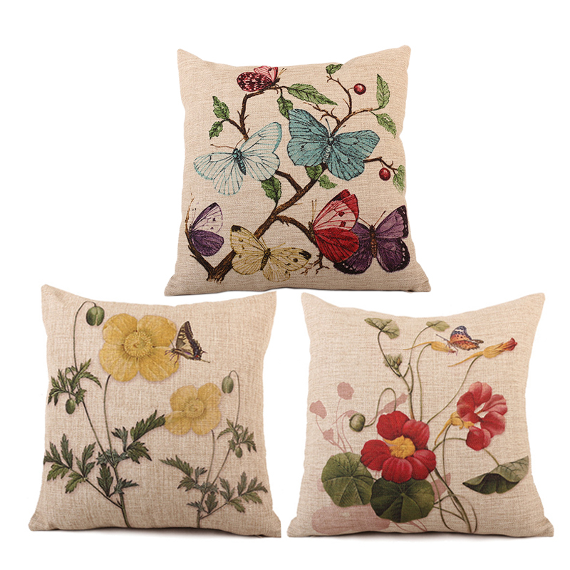 ... NEW Decorative Flower Butterfly Linen Cotton Cushion Covers For Sofa  Car Bed Seat Chair Pillow Case