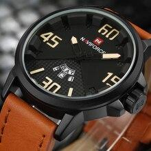NAVIFORCE Marca Moda hombre Casual Sport Reloj de Cuero Resistente Al Agua de Cuarzo Analógico Relojes Hombre Militar Reloj Relogio masculino