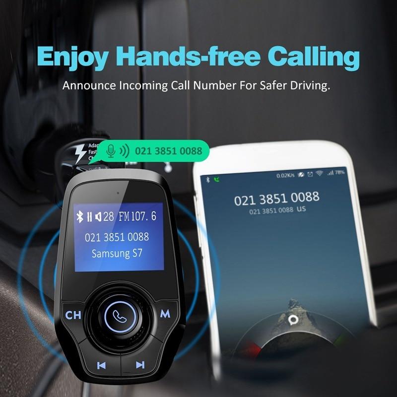 """מקרנים ופלאזמות VicTsing משדר רדיו אלחוטי נגן מוסיקה משודרג Bluetooth משדר FM עם 1.44 """""""" מטען USB כפול תצוגה עבור רכב (4)"""