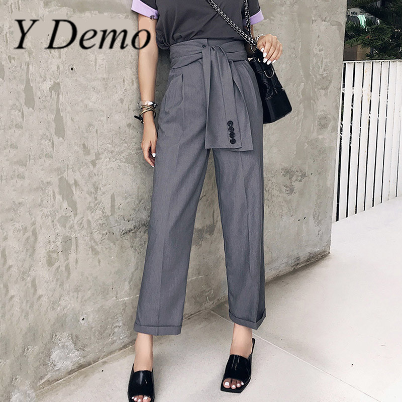 Y Demo Lace Up High Waist Oversize Long   Wide     Leg     Pants   Summer Fashion Casual Trousers