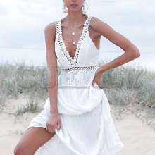 CUERLY Sexy v-neck women maxi dress Elegant backless lace up white summer dresses Solid lining hollow out female dress vestidos new spring summer women blouse short sleeve deep v neck hollow out lace up ladies dresses solid white casual cotton vestidos