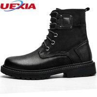 UEXIA חדש פרווה חמה בחורף מגפי נעלי הרי נעלי עבודה גברים באיכות גבוהה וינטג שלג הפרווה קרסול גומי נעלי עבודת קרסול