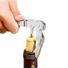 New Stainless Steel Corkscrew Double Hinged Waiters Wine Bottle Opener Lever Tool Wine Bottle Opener stainless steel thickened red wine bottle opener corkscrew red silver