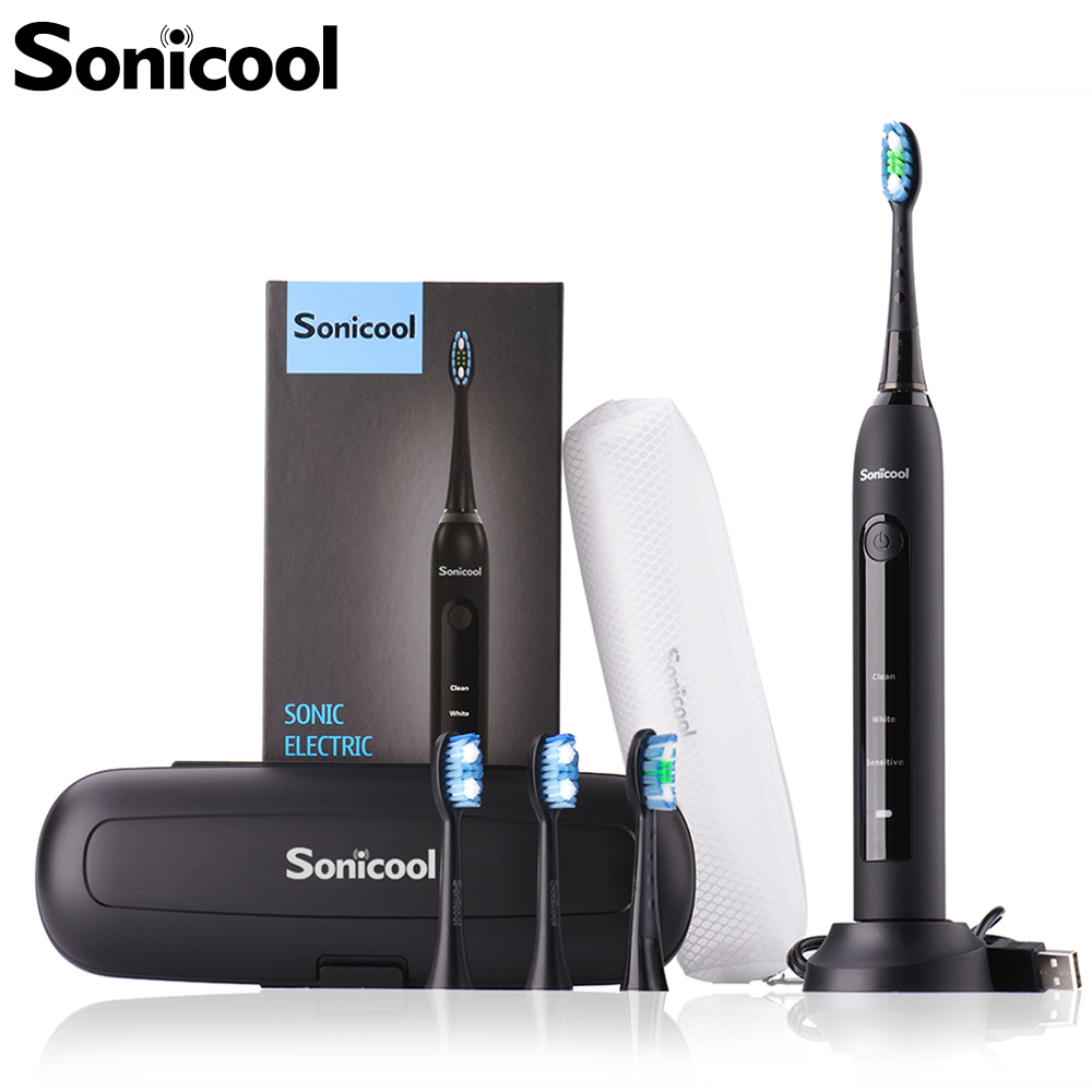 Sonicool Electric Toothbrush Sonic Toothbrush USB Rechargeable Tooth Brushes With 4 Pcs DuPont Replacement Time Brush Heads