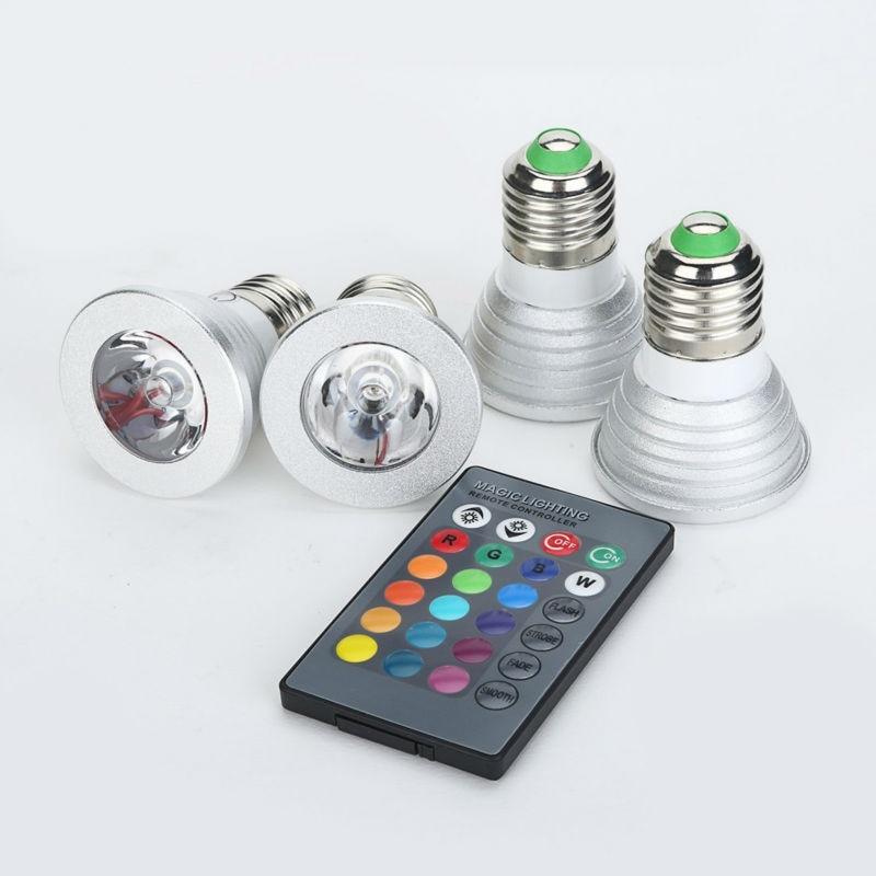 Buy e27 e14 gu10 rgb led bulb lampada ac for Lampada led e14