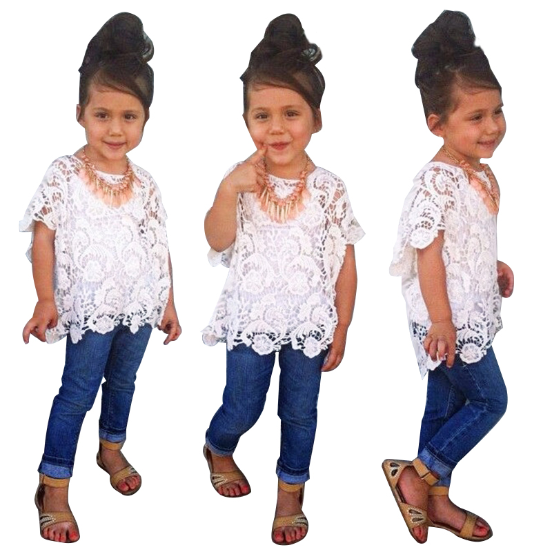 2017 Summer Children Girls Clothing Sets Lace Coat+Vest+Denim Pants Fashion Baby Girl 3pcs Clothes Set 1-7 Years Kids Suits teenage girls clothes sets camouflage kids suit fashion costume boys clothing set tracksuits for girl 6 12 years coat pants