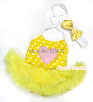Valentine Yellow White Dot Light Pink Heart Halterneck Jumpsuit Yellow Baby Dress NB-2Year MAJSA0321