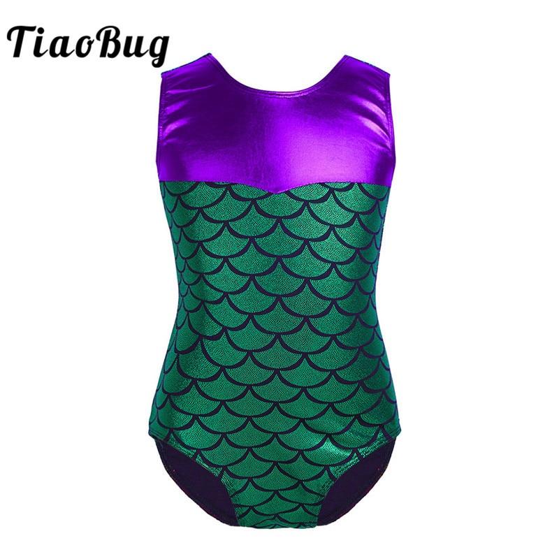 Sleevess Girls Bodysuit for Ballet Dance Green Mermaid Girls Leotard for Gymnastics