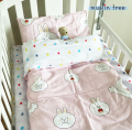 Cotton Baby bed Quilt cover pillow case sheets Three piece suit baby Bedding set include pillowcase plat sheet quilt newborn