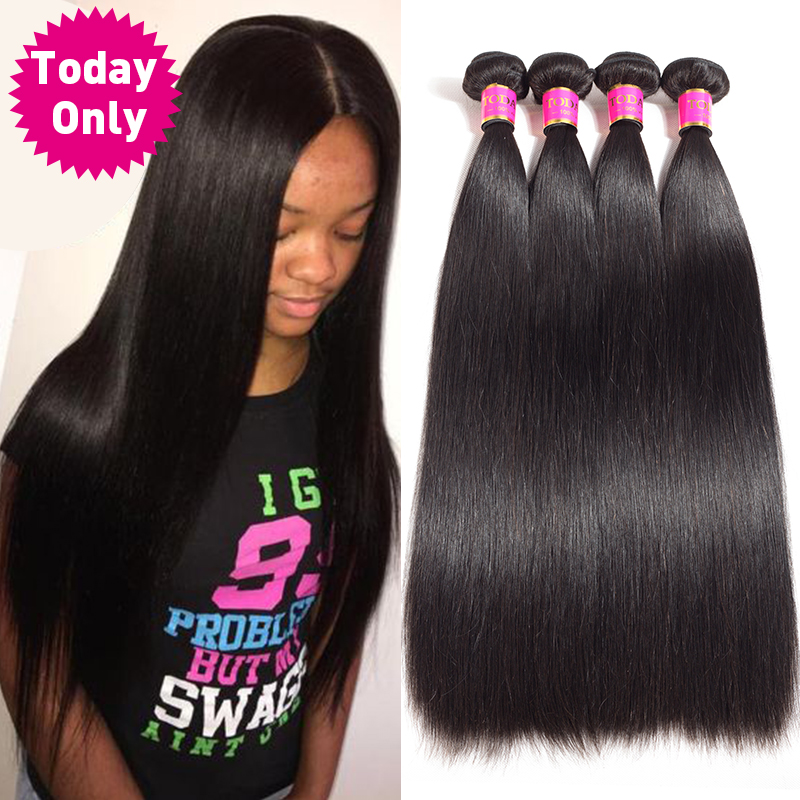I dag KUN 1/3/4 Bunker Peruvian Straight Hair Bundles Ubehandlet Virgin Human Hair Bundles Peruvian Hair Bundles