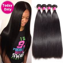 TODAY ONLY 1 / 3 / 4 Bundles Peruvian Straight Hair Bundles Unprocessed Virgin Human Hair Bundles Peruvian Hair Bundles(China)