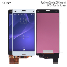 For Sony Xperia Z3 compact D5803 D5833 LCD Display Digitizer Sensor Glass Panel Z3 mini Assembly with Frame Phone Parts LCD tempered glass 100% tested oem for sony xperia z3 mini lcd z3 compact lcd display touch screen digitizer assembly b