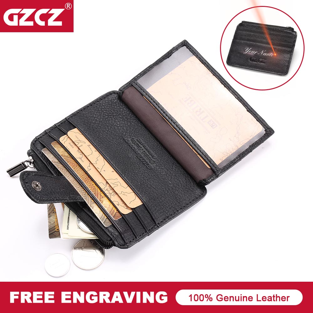 GZCZ Hot Sale Vintage Slim Mini Credit Card Holder Wallet Genuine Leather Case ID Pocket Purses Zipper Poucht Travel Wallet Gift hot sale 2015 harrms famous brand men s leather wallet with credit card holder in dollar price and free shipping