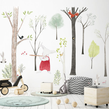 87*140cm Large Nordic Style Animal Kids Wall Stickers Cartoon Tree Forest Children Baby Room Wall Decal Poster