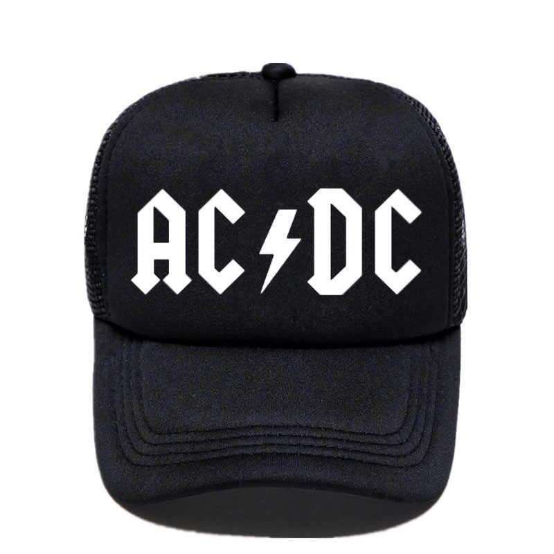 b60a4d40fe0 Men Women Cool Trucker Mesh Caps ACDC Band Rock Fans Cap AC DC Rock Band