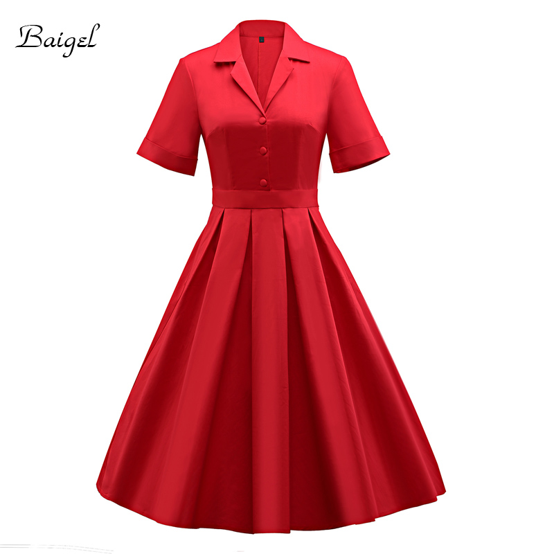 Womens Vintage Dress Solid Turn Down Collar With Button