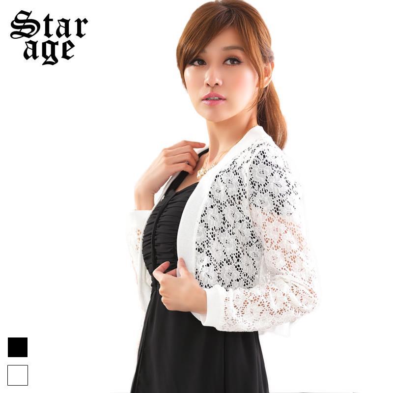 L xxxxl marca más el tamaño elegante para mujer chaqueta de encaje de  flores de manga larga de las chaquetas cortas mujer Tops Cardigan blanco    negro 9620 ... 0a3784c0a054