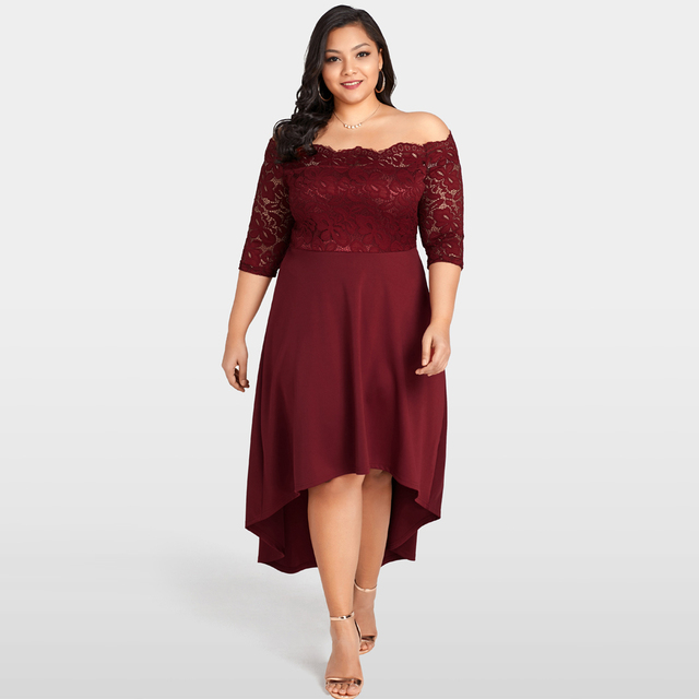 US $17.22 33% OFF|Women Off Shoulder Lace Dress Plus Size Lace Scalloped  Party Dresses Nightclub Vestidos Festa Burgundy Summer Asymmetrical  Dress-in ...