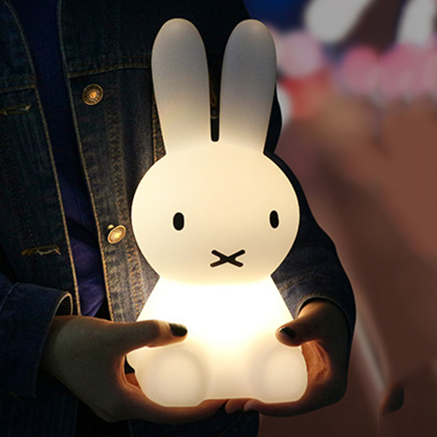 BEIAIDI 28CM Bunny Rabbit LED Night Light 3 Level Dimmable Cartoon Bedside Rabbit Table Lamp Baby Children Kid Gift Toy's Light