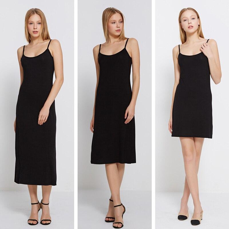 LZJN 40s Modal Long Slip Dress Black White Sexy Underdress Solid Petticoat Bodycon Camisole Women Intimates Spaghetti Vest Dress