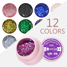 UR SUGAR 5ml Holographic Glitter Nail Gel Polish Shiny Laser Sequins Pink Purple Color Soak Off UV Art Lacquer