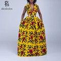 2016 лето африканская Одежда dashiki платье для элегантных v-образным вырезом классическая печати рукавов макси платья женщин чистого хлопка плюс
