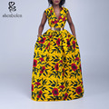 2016 summer african Clothing dashiki dress for elegant v-neck classical print sleeveless maxi  dresses women pure cotton plus