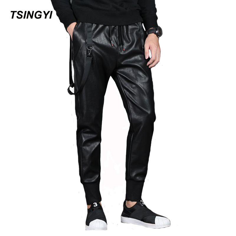 Tsingyi Black Strap Elastic Waist Faux Leather Pants Men Streetwear Biker Motorcycle Harem Pant Casual PU Leather Pencil Trouser