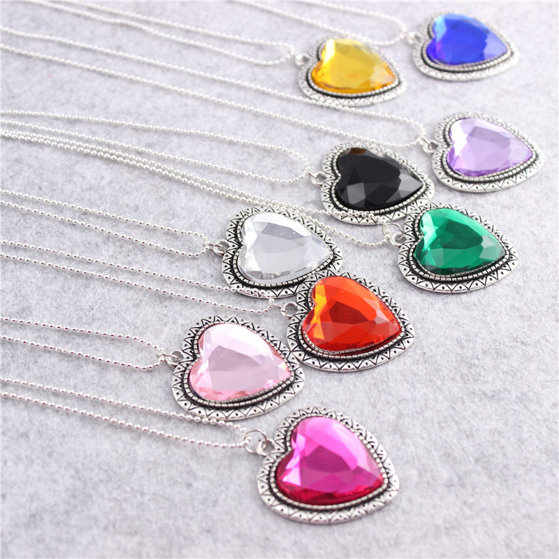 10pcs/lot Vintage Crystal Diamond Shine Heart-shaped Alloy Necklace Chain Decoration Kids Birthday Party Take-home Favor