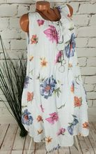Large size Womens Dress 2019 summer Dresses new cotton and linen loose printed  long plus dress S-5XL