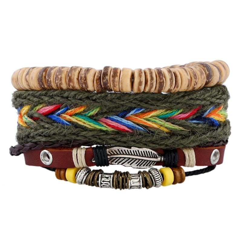 Ethinc Style Braided Woven Women Bracelet Casual Beaded Multi Layer Bangles Bohemian DIY Jewelry Genuine Leather Bracelets Femme