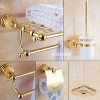 5 в 1 золото польский Нержавеющаясталь настенный Ванна Ванная комната наборы Полотенца стойку ткань для хранения полки Тау бар для туалетн