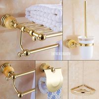 5 in 1 Gold Polish Stainless Steel Wall Mounted Bath Bathroom Sets Towel Rack Storage Cloth Shelf Towe Bar Toilet Brush Holder