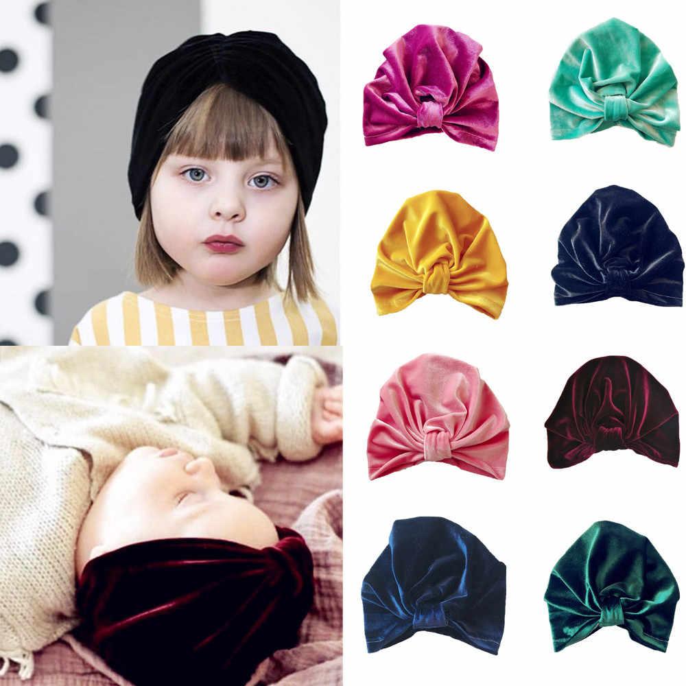 0202f1ef5995c3 1Pc newborn hat young children boy girl bow gold velvet headscarf hat 2019  new fashion autumn