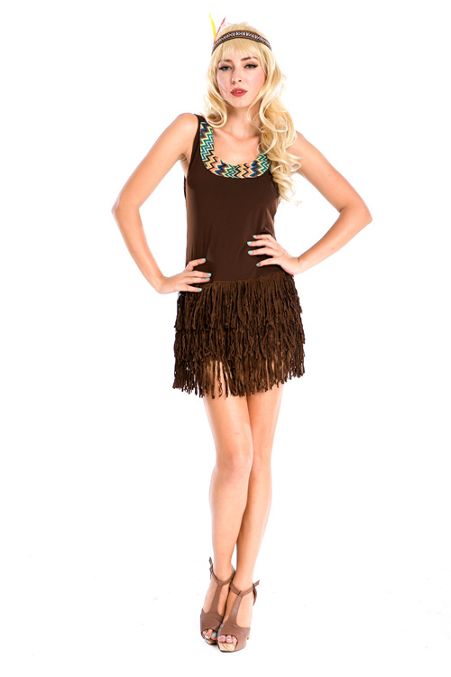 Halloween Dancer cosplay Costume Indian tribe Princess Sexy Dress Brown Tassel Dress Jazz DS Nightclub Stage Performance Clothes
