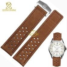 Correa de piel genuina reloj pulsera para hombre de la correa veces hebilla Nubuck 22 mm correas de reloj accesorios de pulseras