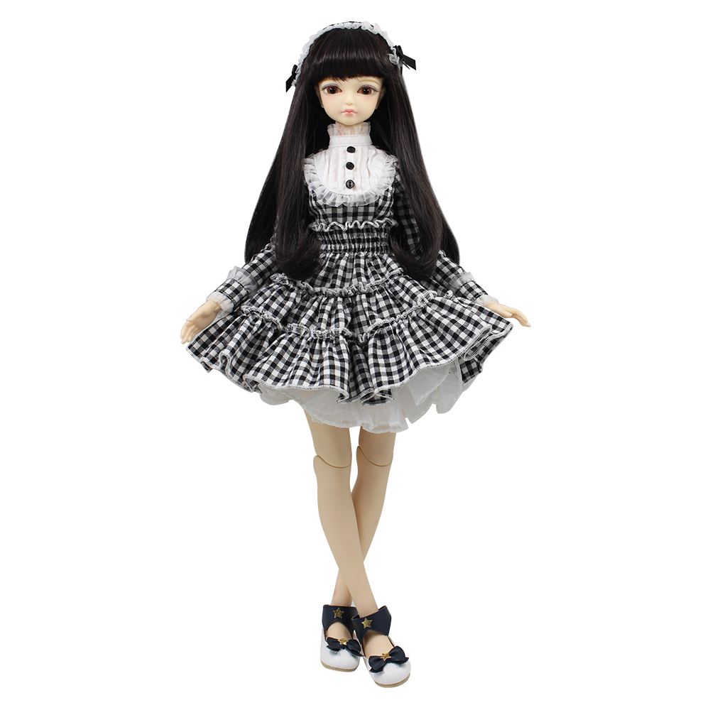 free shipping fortune days 1/4 bjd doll 45cm with Plaid dress with hairband clothes shoes wig makeup combination MMGIRL BJD DOLL