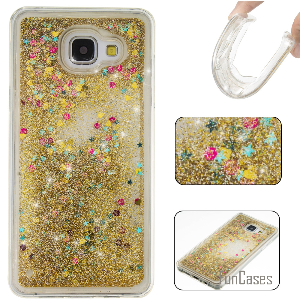 Coque Bling Love Heart Stars Soft TPU Phone Case Cover For Samsung Galaxy A310 Funda Quicksand Phone Case For Samsung A3 2016 <%