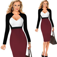 Fashion Sexy V-neck Dress Women Spring Comfortable Contrast Color Back Zipper Tight Elegant Office Lady