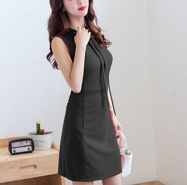 e8fcc639a893 Summer Dress Abbigliamento Donna Senza Maniche Casual Vestito sveglio  Coreano O-Collo Solid Rosso Nero