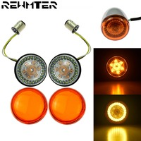 Moto LED Turn Signal Light Motorcycle 1157 Amber/White Lamp With Lens Cove For Harley Sportster Dyna Softail Touring