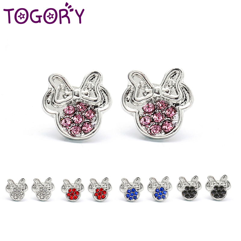 0b4d002e4f1f5 TOGORY Presents Silver Plated Crystal Mickey Shape Pan Stud Earrings ...