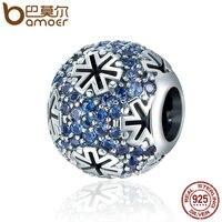 BAMOER Genuine 100 925 Sterling Silver Christmas Snowflake Blue CZ Beads Fit Original Charm Bracelet DIY