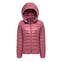 Winter Ultra Light Women Down Warm Jackets Hooded White Duck Down jacket Thin Slim Parka Coats Female Feather Jacket Outwear