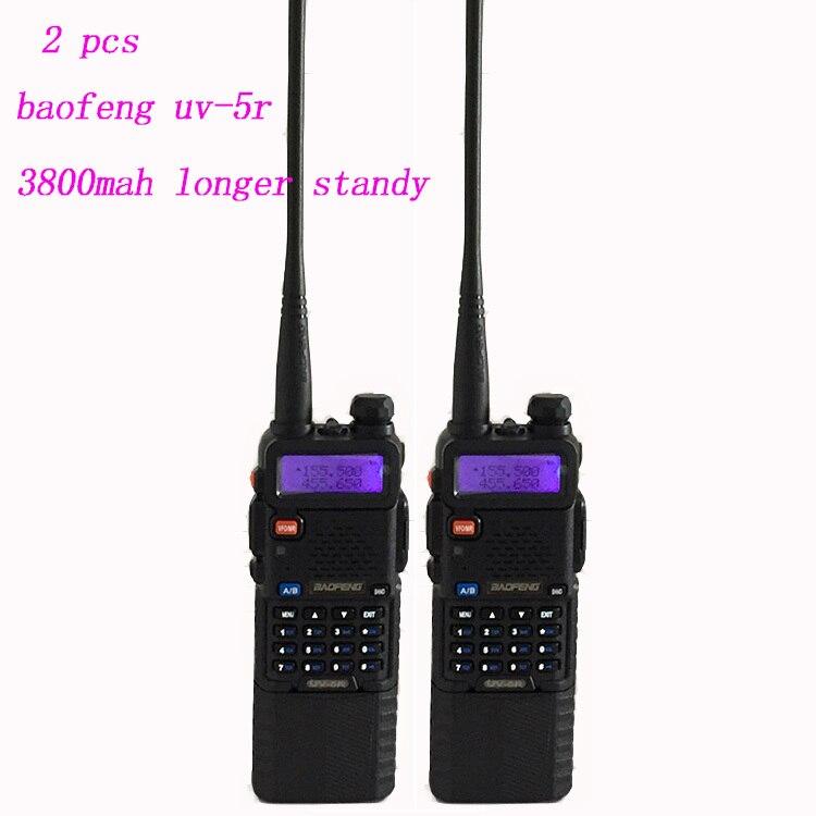 2 PCS Two Way Radio Talkie Walkie Baofeng UV-5R Avec 3800 Mah Batterie longue Casque Scanner II dual band talkie walkie Baofeng uv5r