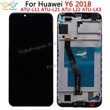 هواوي Y6 2018 شاشة الكريستال السائل محول الأرقام بشاشة تعمل بلمس لهواوي Y6 رئيس 2018 LCD ATU L11 L21 L22 LX1 LX3 L31 L42 شاشة مع الإطار