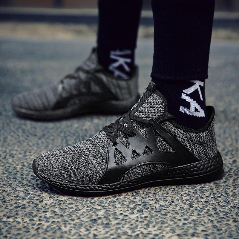 Más tamaño 47 transpirable hombres zapatos casuales onda Flying marea coreana encaje moda Zapatillas ligero Zapatillas plataforma