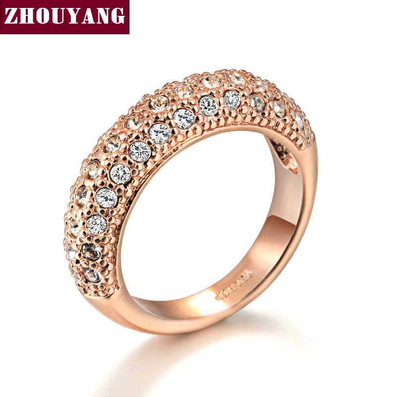 Top Quality Gold Nobleness Elegant Crystal Ring Rose Gold Color Austrian Crystals Full Sizes Wholesale ZYR122 ZYR268